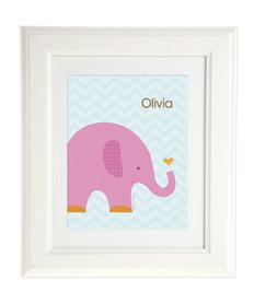 Sweet Pink Elephant Kids Wall Art