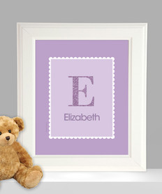 A Shiny Purple Letter Kids Wall Art