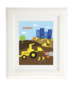 Construction Site Kids Wall Art