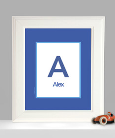 A Linen Blue Letter Kids Wall Art
