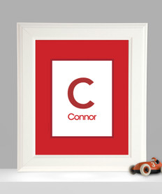 A Linen Red Letter Kids Wall Art