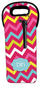 Simply Pink Chevrons Wine Tote