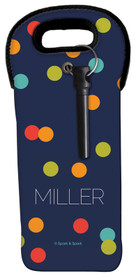 Blue & Colorful Dots Wine Tote