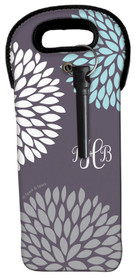 Grey Pom Pom Flowers Wine Tote