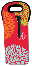 Red Pom Pom Flowers Wine Tote