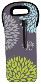 Pom Pom Flowers Grey Wine Tote
