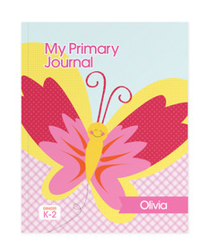 Smiley Butterfly Personalized Primary Journal