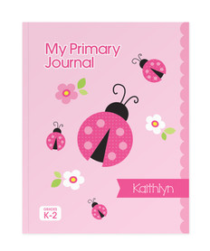 Sweet Pink Lady Bug Personalized Primary Journal