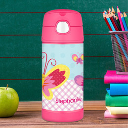 Kids Water Bottles with Smily Butterfly