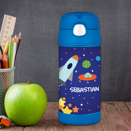 Rocket Launch Custom Thermos Water Bottle