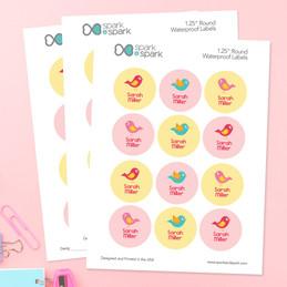 Sweet Little Birds Waterproof Labels for Kids