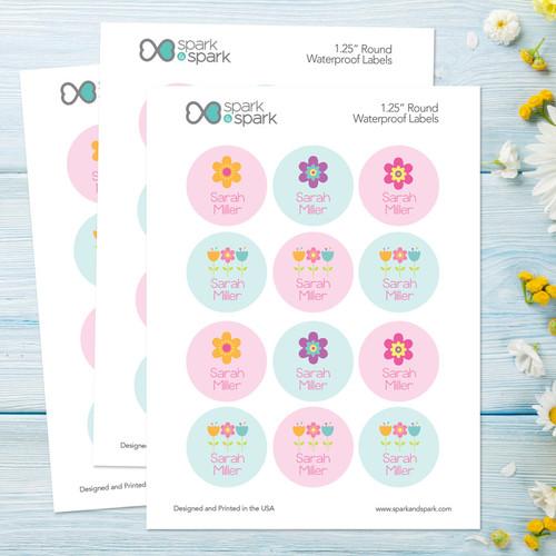 Sweet Little Blooms Waterproof Labels for Kids
