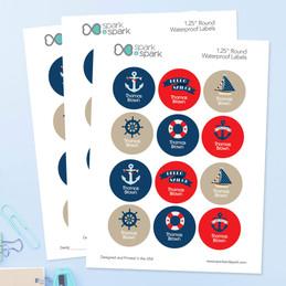 Sail Away Waterproof Labels for Kids (Set of 48)