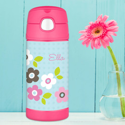 Blue Preppy Flowers Personalized Thermos For Kids