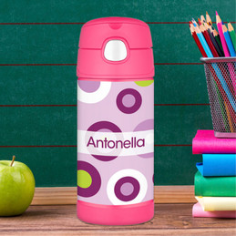 Purple Circles Personalized Thermos For Kids