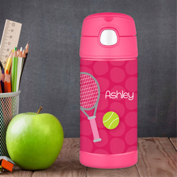 Pink Tennis Racket And Ball Personalized Thermos For Kids
