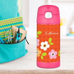 Orange Preppy Flowers Personalized Thermos For Kids