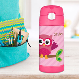 Pink Owl Personalized Thermos For Kids