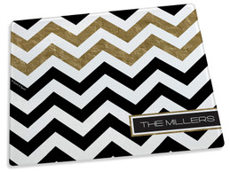 Black Chevron with Gold Foil Cutting Board