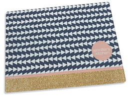 Gold Bar and Blue Triangles Cutting Board