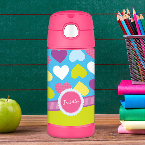 Happy Hearts Personalized Thermos For Kids