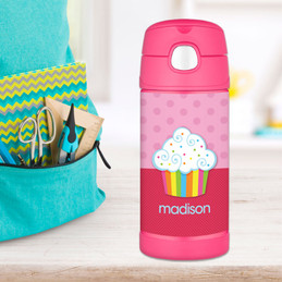 Rainbow Cupcake Personalized Thermos For Kids