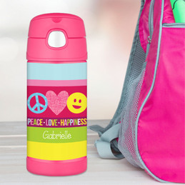 Peace Love Happiness Personalized Thermos For Kids