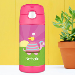 Turtle And Happy Bird Personalized Thermos For Kids