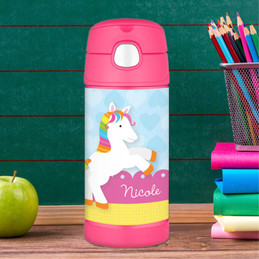 Rainbow Pony Personalized Thermos For Kids