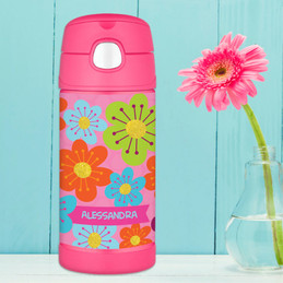 Shiny Bold Flowers Personalized Thermos For Kids