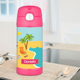Fun At The Beach Personalized Thermos For Kids