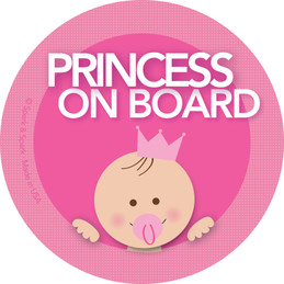 Cute Baby On Board Sticker with a Princess | Spark & Spark