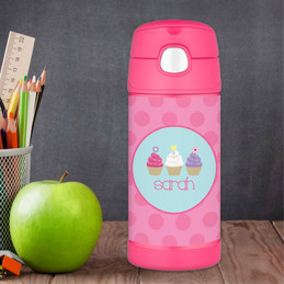Three Cupcakes Personalized Thermos For Kids