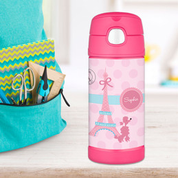Pink Poodle In Paris Personalized Thermos For Kids