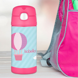 Pink Hot Air Balloon Personalized Thermos For Kids
