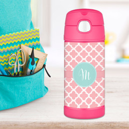 Pretty Pink Quatrefoil Personalized Thermos For Kids
