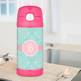 Pretty Blue Damask Personalized Thermos For Kids