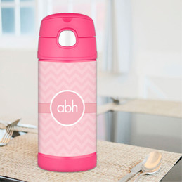Pink Initials On Chevron Personalized Thermos For Kids