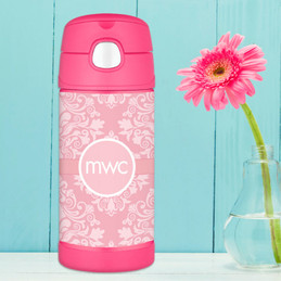 Pink Sweet Damask Personalized Thermos For Kids