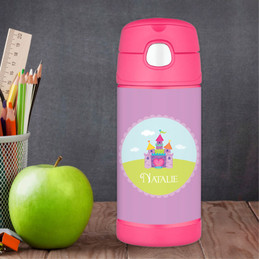 Pretty Heart Castle Personalized Thermos For Kids