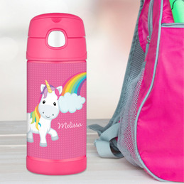 Rainbow Unicorn  Personalized Thermos For Kids