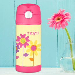 Three Spring Blooms Personalized Thermos For Kids