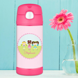 Three Cheerleaders Personalized Thermos For Kids