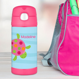 Swimming Pink Turtle Personalized Thermos For Kids