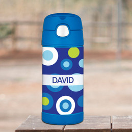 Circles And Circles Blue Personalized Thermos