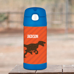 Dino And Me Orange Personalized Thermos Bottle
