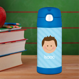 Just Like Me Boy Lite Blue Personalized Boy Thermos