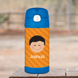 Just Like Me Boy Orange Personalized Thermos