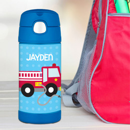 Cool Firetruck Personalized Thermos Funtainer