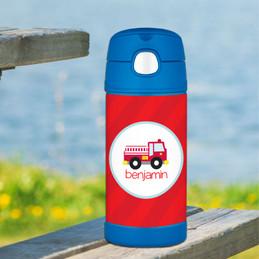 Cute Little Firetruck Personalized Funtainer Bottle